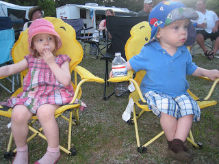 Canada Day Artemis and Maximilian Sitting on Winnie The Pooh Chairs