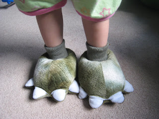 Artemis Wearing Dinosaur Slippers