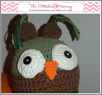 The Stitchin Mommy Logo and Crocheted Owl Hat
