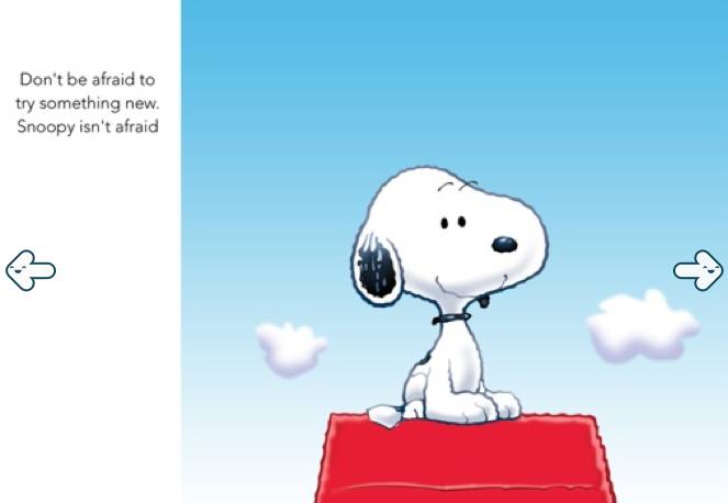 Snoopy iPad App-Fearless Page