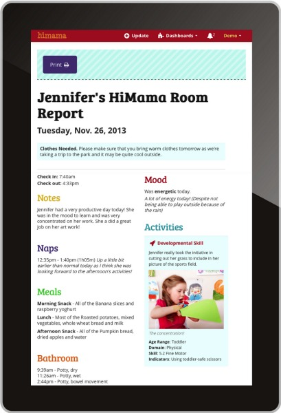 HiMama Daycare Report