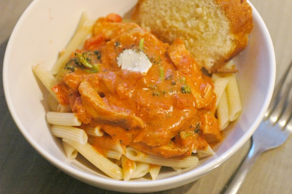 Chicken Penne in Rose Sauce with Vegetables and Goats Cheese