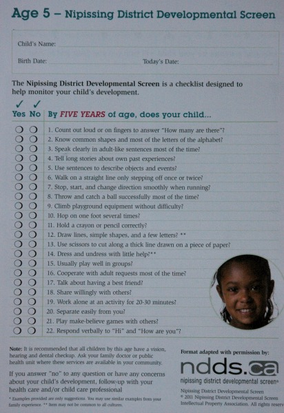 Nipissing District Developmental Screen Checklist