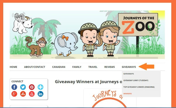 Winners Page at Journeys of The Zoo