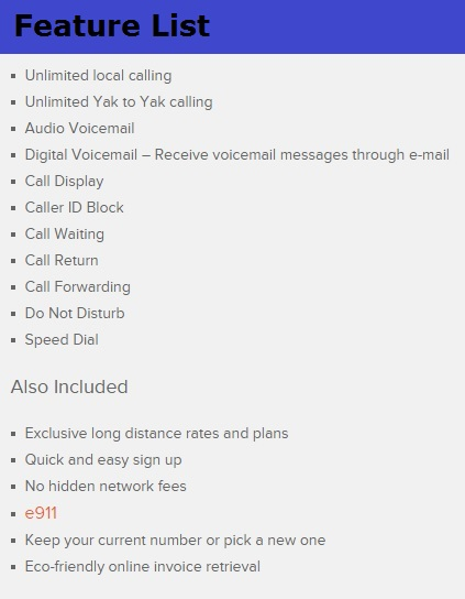 Yak Home Phone Service-Features