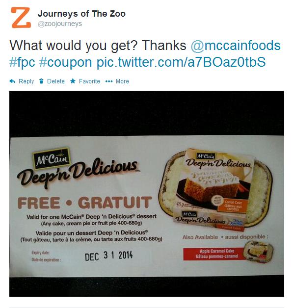 McCains Deep'n Delicious FPC Tweet